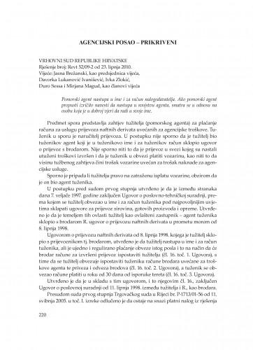 Agencijski posao - prikriveni (Vrhovni sud Republike Hrvatske, rješenje broj: Revt 52/09-2 od 23. 6. 2010.) : [prikaz] : Poredbeno pomorsko pravo