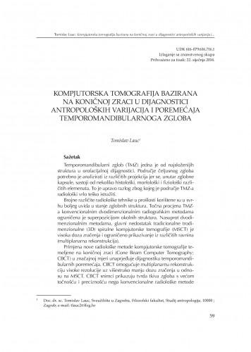 Kompjutorska tomografija bazirana na koničnoj zraci u dijagnostici antropoloških varijacija i poremećaja temporomandibularnoga zgloba