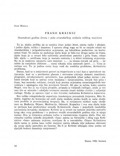 Frano Kršinić : osamdeset godina života i pola stvaralačkog stoljeća velikog majstora : Bulletin Razreda za likovne umjetnosti Jugoslavenske akademije znanosti i umjetnosti