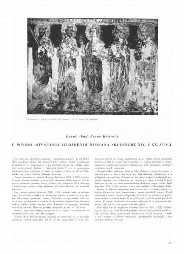 Prigodom otvaranja izložbenih dvorana skulpture XIX. i XX. st. : Bulletin Instituta za likovne umjetnosti Jugoslavenske akademije znanosti i umjetnosti