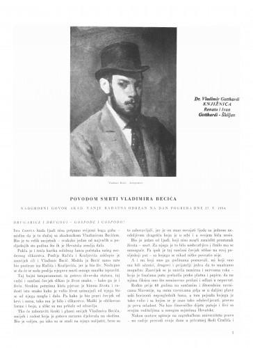 Nadgrobni govor Vladimiru Becić : Bulletin Instituta za likovne umjetnosti Jugoslavenske akademije znanosti i umjetnosti