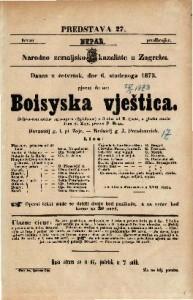 Boisyska vještica Šaljivo-romantična igro-opera (Spieloper) u 3 čina / od E. Coste. U glasbu stavio Ivan. pl. Zajc