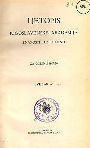 Za godinu 1929/30. Sv. 43 : Ljetopis