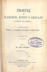 Knj. 4. (1899) : Zbornik za narodni život i običaje
