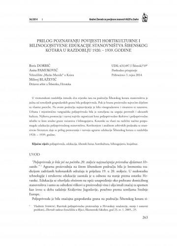 Prilog poznavanju povijesti hortikultulturne i bilinogojstvene edukacije stanovništva Šibenskog kotara u razdoblju 1920.-1939. godine : Radovi Zavoda za povijesne znanosti HAZU u Zadru
