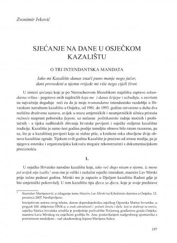 Sjećanje na dane u osječkom kazalištu : o tri intendantska mandata : Krležini dani u Osijeku