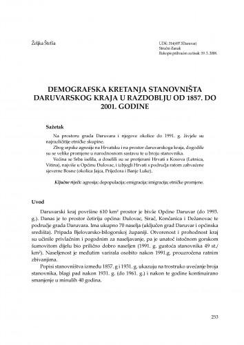 Demografska kretanja stanovništva daruvarskog kraja u razdoblju od 1857. do 2001. godine : Radovi Zavoda za znanstvenoistraživački i umjetnički rad u Bjelovaru