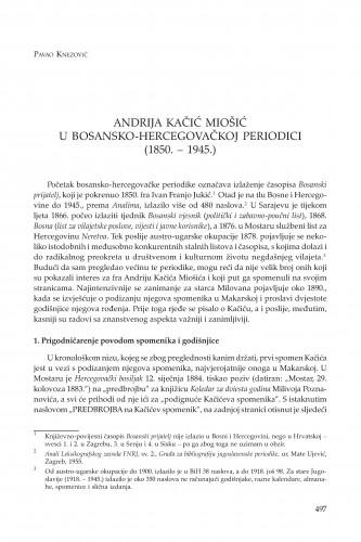 Andrija Kačić Miošić u bosansko-hercegovačkoj periodici (1850. - 1945.)
