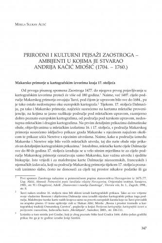 Prirodni i kulturni pejsaži Zaostroga - ambijenti u kojima je stvarao Andrija Kačić Miošić (1704. - 1760.)