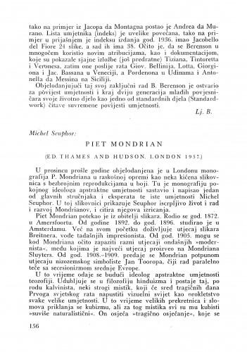 Michael Seuphor: Piet Modrian 1957. : Bulletin Instituta za likovne umjetnosti Jugoslavenske akademije znanosti i umjetnosti