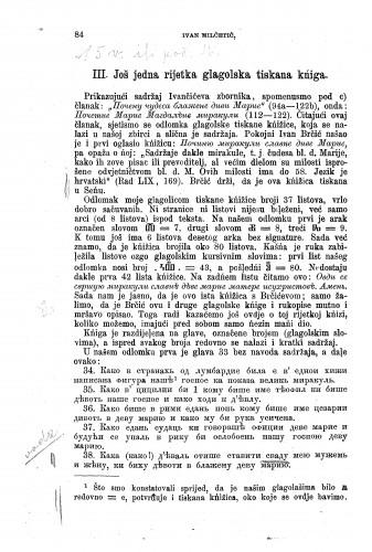 Prilozi za literaturu hrvatskih glagolskih spomenika : još jedna rijetka glagolska tiskana kńiga / Ivan Milčetić