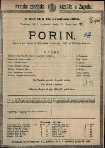 Porin Opera u pet činova / od Vatroslava Lisinskoga