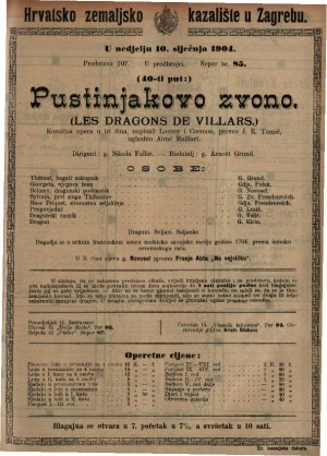 Pustinjakovo zvono komična opera u tri čina / uglazbio Aimé Maillart