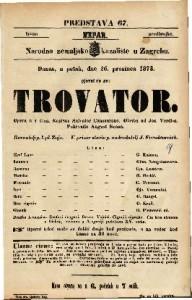 Trovator Opera u 4 čina / Napisao Salvator Cammarano. Glasba od Jos. Verdi-a