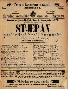 Stjepan posliednji kralj bosanski izvorna drama u 5 činah / napisao M. Bogović