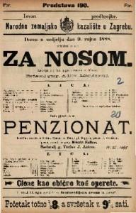 Za nosom = Penzionat Lakrdija u 1 činu = Komična opereta u 2 čina / napisao Stjepan pl. Miletić