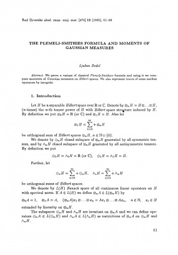 The Plemelj-Smithies formula and moments of Gaussian measure