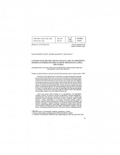 Utvrđivanje krvnih grupa sustava ABO na prethistorijskim ljudskim kostima iz spilje Bezdanjača (Lika, Hrvatska)
