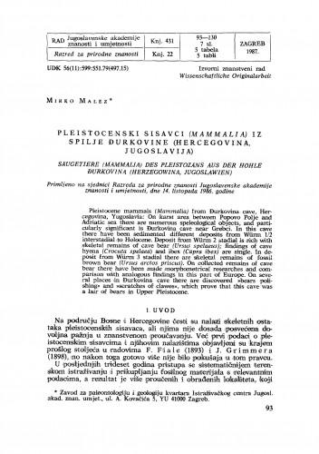 Pleistocenski sisavci (Mammalia) iz spilje đurkovine (Hercegovina, Jugoslavija)