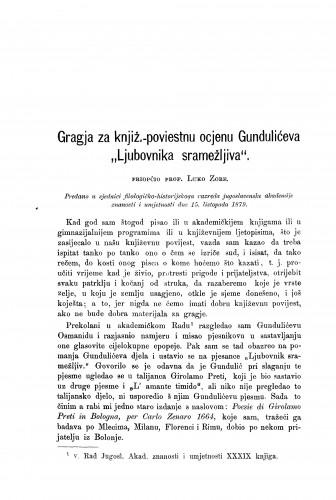 Gragja za knjiž.-poviestnu ocjenu Gundulićeva