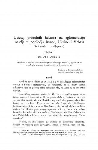 Utjecaj prirodnih faktora na aglomeraciju naselja u poriječju Bosne, Ukrine i Vrbasa