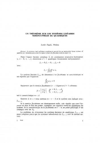 Un theoreme sur les systemes lineaires irreductibles de quadriques