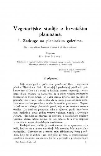 Vegetacijske studije o hrvatskim planinama