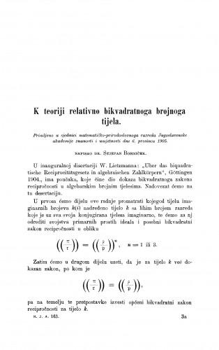 K teoriji relativno bikvadratnoga brojnoga tijela