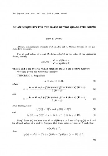 On an inequality for the ratio of two quadratic forms