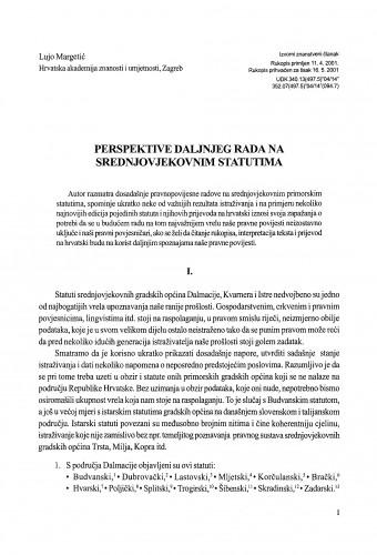 Perspektive daljnjeg rada na srednjovjekovnim statutima