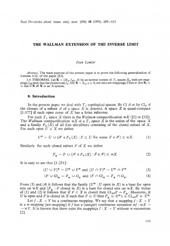 The Wallman extension of the inverse limit