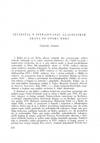 Izvještaj o istraživanju glagoljskih akata po otoku Krku / V. Štefanić
