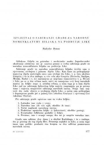 Izvještaj o sabiranju građe za narodnu nomenklaturu biljaka na području Like / R. Domac