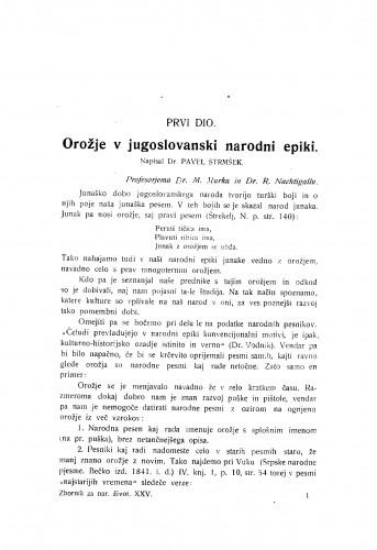 Orožje v jugoslovanski narodni epiki / P. Strmšek