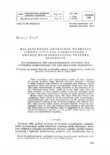 Malakocenoze graničnog područja između tipičnog karbonatnog i smeđeg beskarbonatnog prapora Slavonije