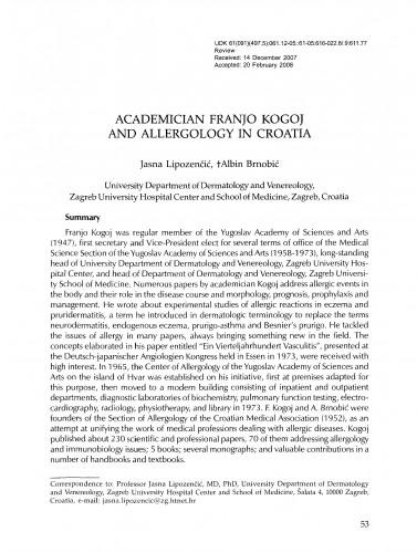 Academician Franjo Kogoj and allergology in Croatia