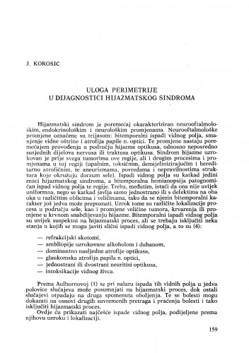 Uloga perimetrije u dijagnostici hijazmatskog sindroma
