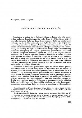 Porijeklo čipke na batiće / M. Gušić