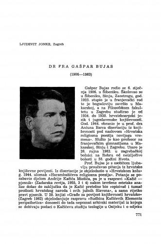 Dr fra Gašpar Bujas (1906-1963) / Lj. Jonke