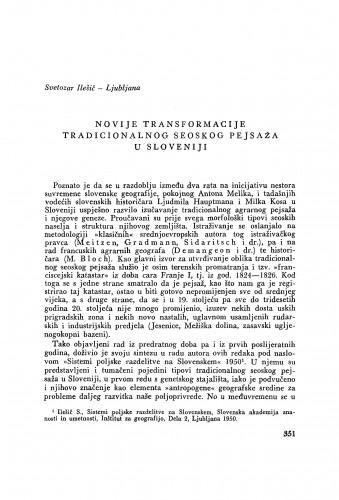 Novije transformacije tradicionalnog seoskog pejsaža u Sloveniji / S. Ilešić