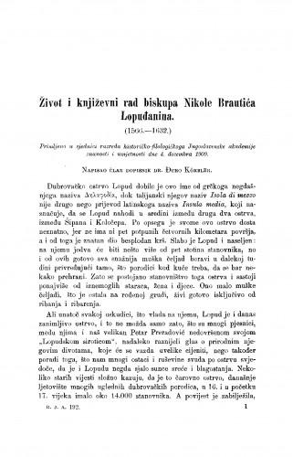 Život i književni rad biskupa Nikole Brautića Lopuđanina (1566-1632.)