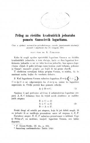 Prilog za riešitbu kvadratičkih jednačaba pomoću Gauss-ievih logaritama