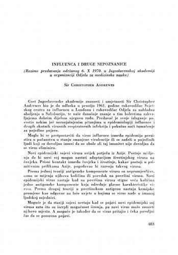 Influenca i druge nepoznanice : (rezime predavanja održanog 6. X 1970. u Jugoslavenskoj akademiji u organizaciji Odjela za medicinske nauke) / C. Andrewes