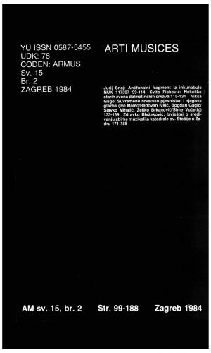 God. 15(1984), br. 2 : Arti musices