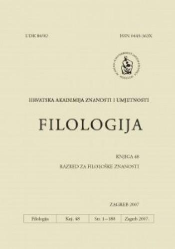 Knj. 48(2007) : Filologija : časopis Razreda za filološke znanosti Hrvatske akademije znanosti i umjetnosti