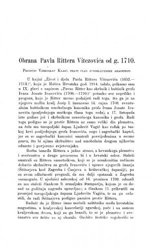 Obrana Pavla Rittera Vitezovića od g. 1710. : Građa za povijest književnosti hrvatske