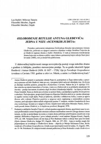 Oslobođenje Betulije Antuna Gleđevića: jedna u nizu