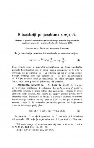 O translaciji po paralelama o osju X.