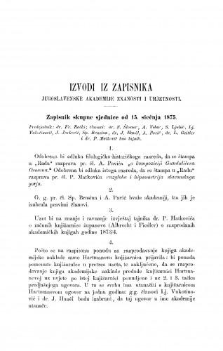 Izvodi iz zapisnika Jugoslavenske akademije znanosti i umjetnosti [1875] : RAD