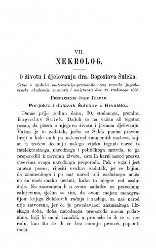 O životu i djelovanju dra. Bogoslava Šuleka / J. Torbar